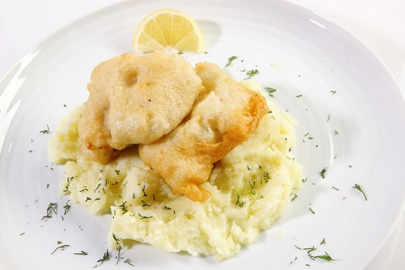 FRIED SALT COD WITH GARLIC POTATO PUREE